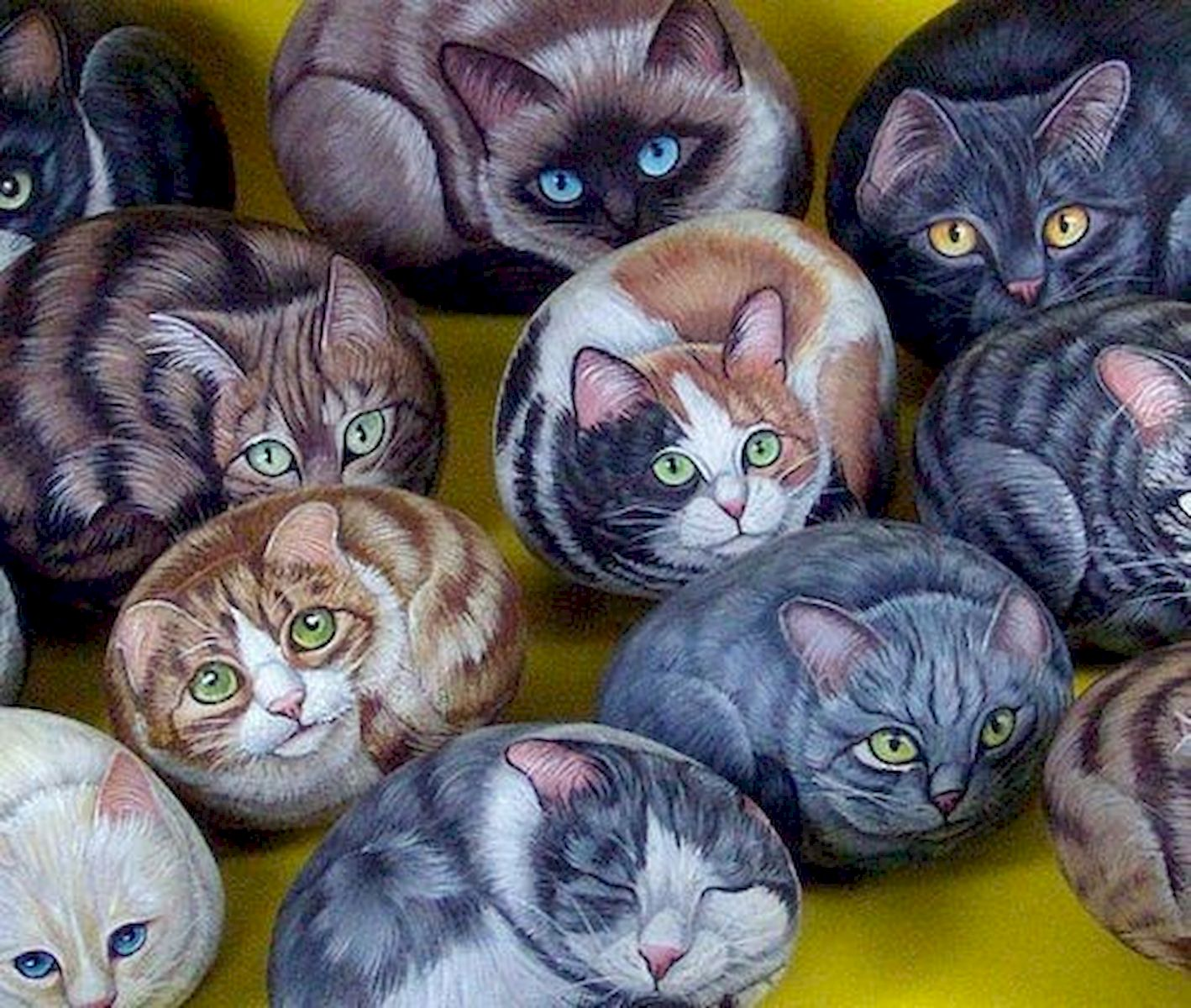 50 Best DIY Painted Rocks Animals Cats For Summer Ideas (2)