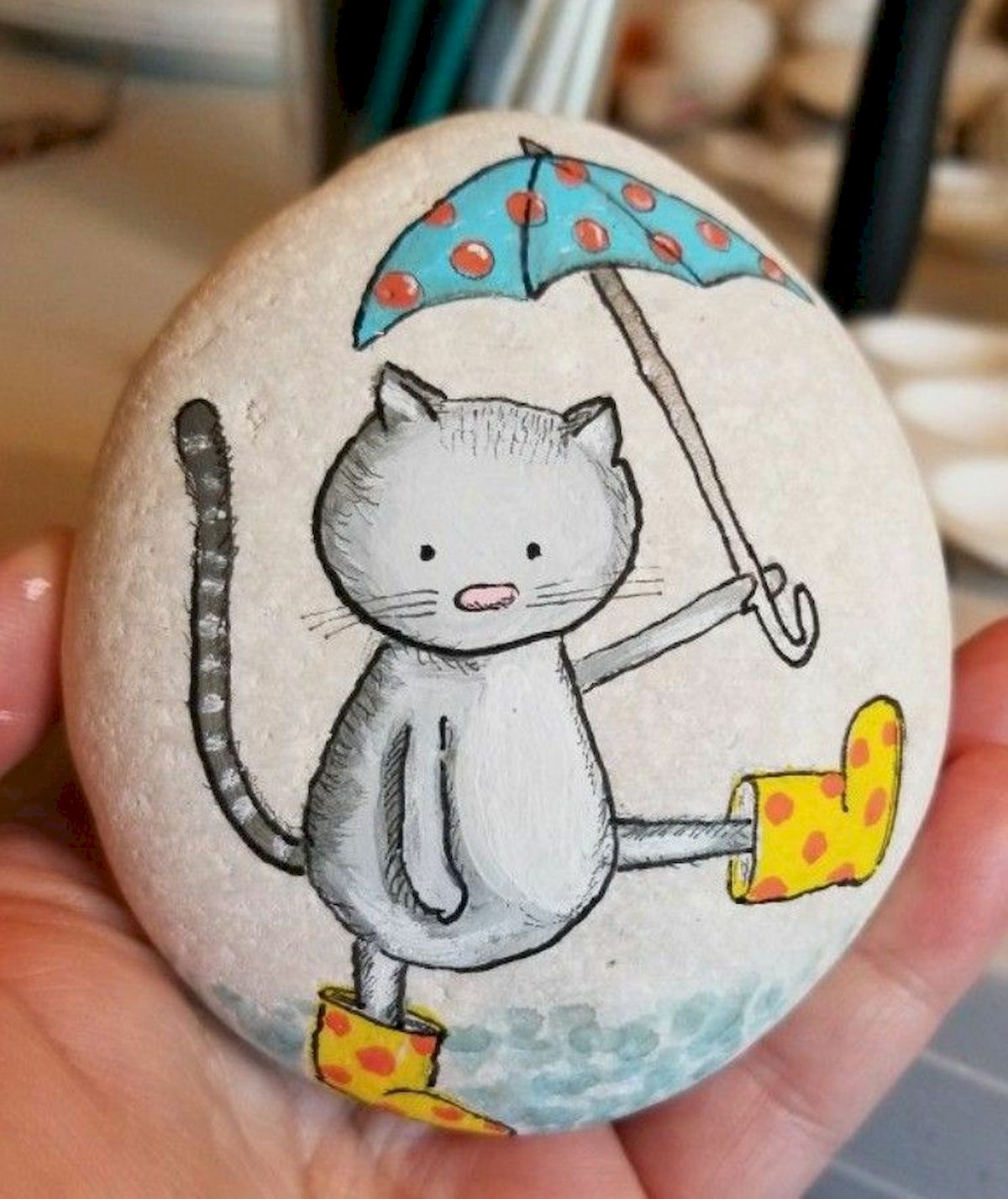 50 Best DIY Painted Rocks Animals Cats for Summer Ideas (23)