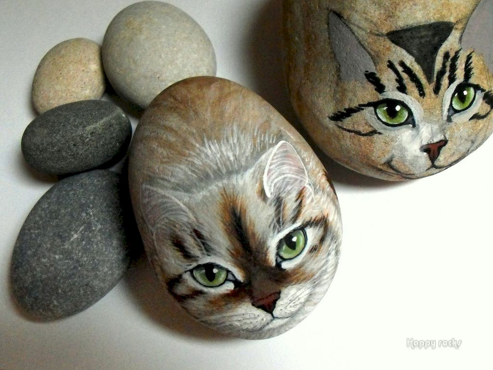 50 Best DIY Painted Rocks Animals Cats for Summer Ideas (35)