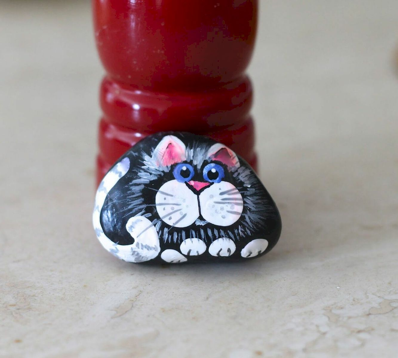 50 Best DIY Painted Rocks Animals Cats for Summer Ideas (45)