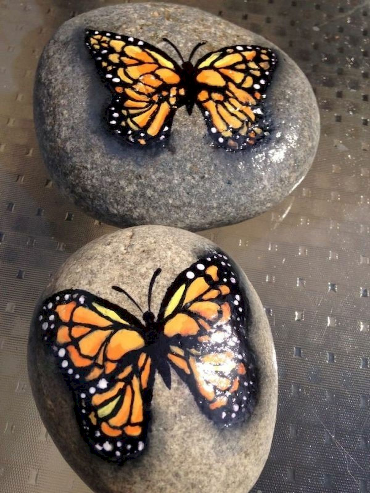 55 Cute DIY Painted Rocks Animals Butterfly Ideas (13)