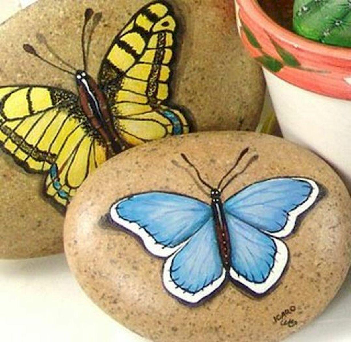 55 Cute DIY Painted Rocks Animals Butterfly Ideas (36)