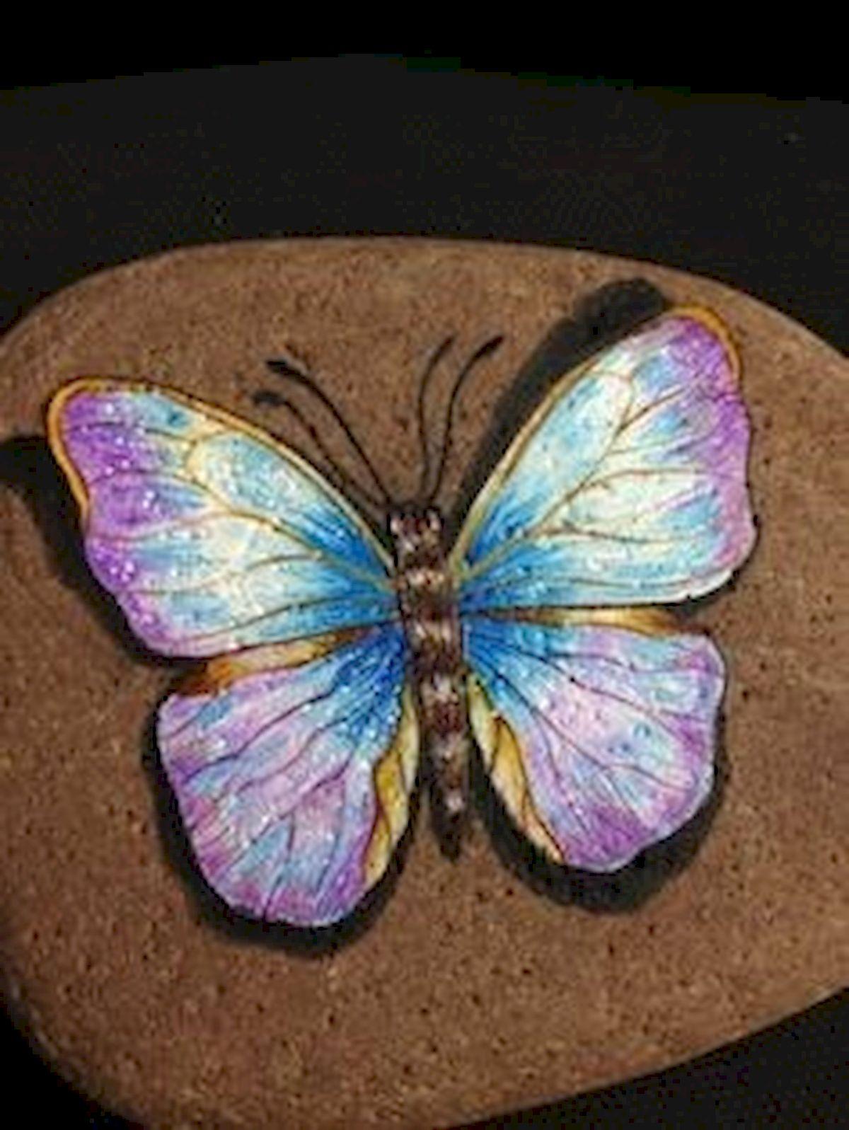 55 Cute DIY Painted Rocks Animals Butterfly Ideas (40)