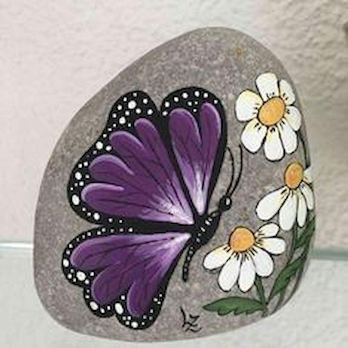 55 Cute DIY Painted Rocks Animals Butterfly Ideas (52)