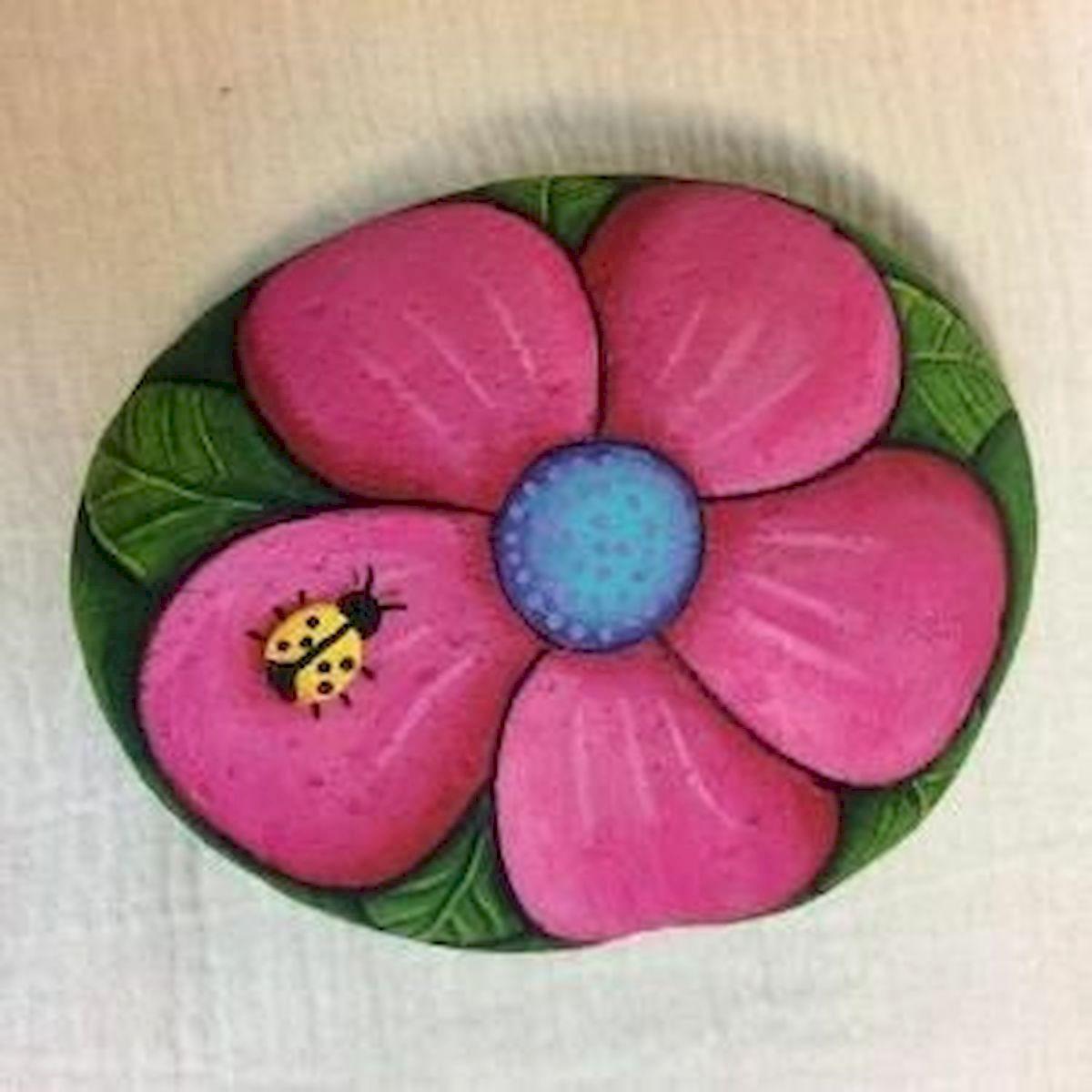 60+ Beautiful DIY Painted Rocks Flowers Ideas (1)