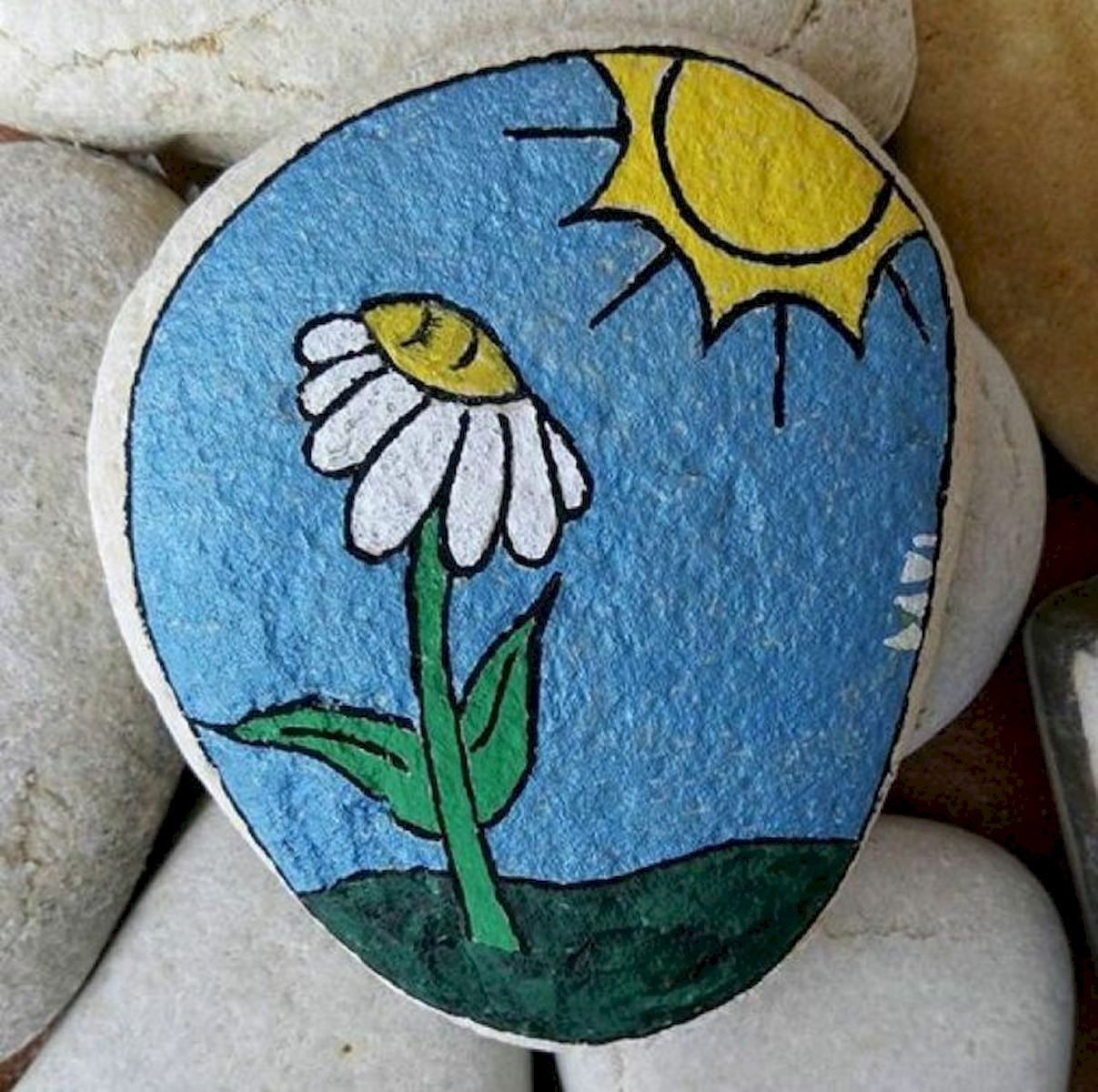 60+ Beautiful DIY Painted Rocks Flowers Ideas (16)