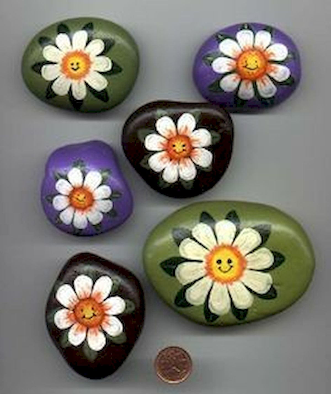 60+ Beautiful DIY Painted Rocks Flowers Ideas (3)