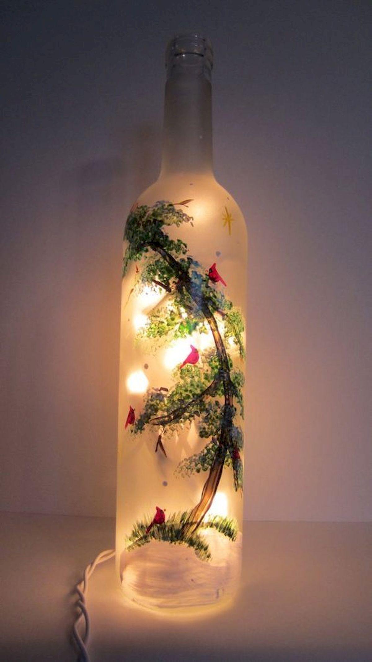 40 Fantastic DIY Wine Bottle Crafts Ideas With Lights (35)