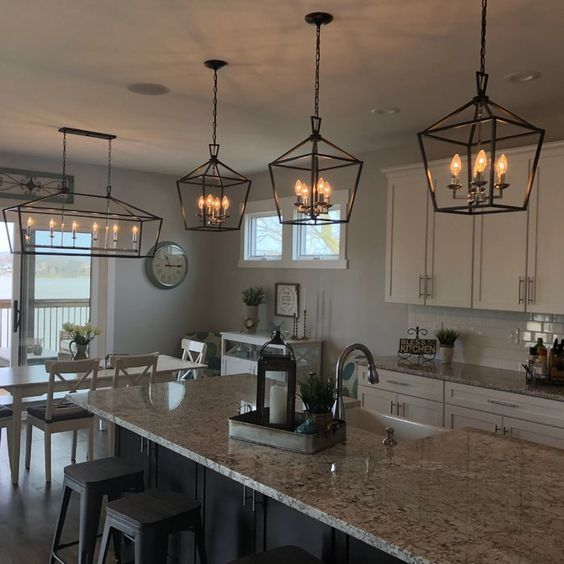 20 Best Farmhouse Kitchen Lighting Decor Ideas and Remodel (16)