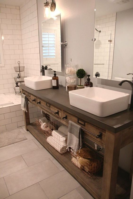 20 Stunning Farmhouse Bathroom Vanity Decor Ideas and Remodel (6)