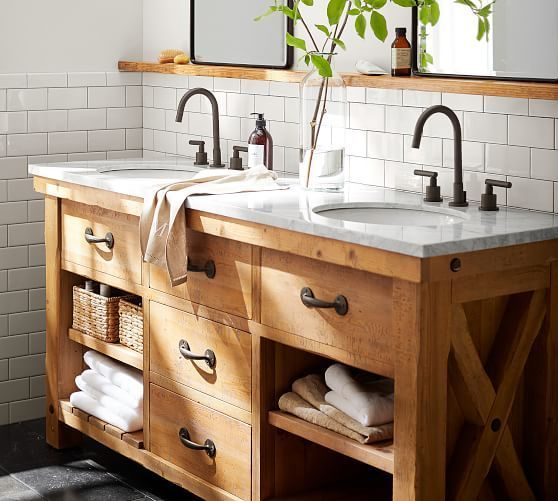 20 Stunning Farmhouse Bathroom Vanity Decor Ideas and Remodel (7)